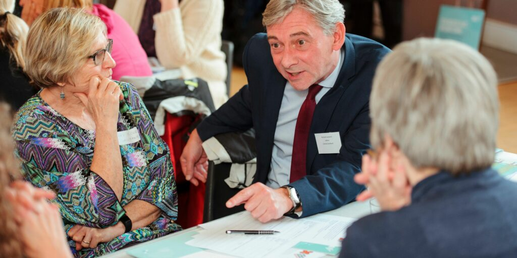 Richard Leonard MSP is lobbied by his constituency as part of a mass lobby at the Scottish Parliament
