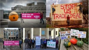 campaigners protesting against US trade deal around Scotland