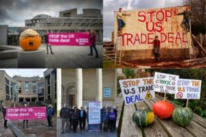 Protests against a US-UK trade deal in Scotland