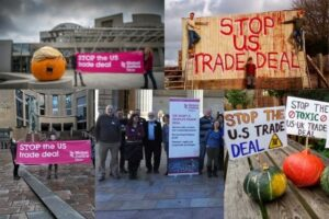 protests across Scotland against a US-UK trade deal October 2020