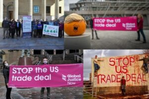 Protests against a US-UK trade deal October 2020