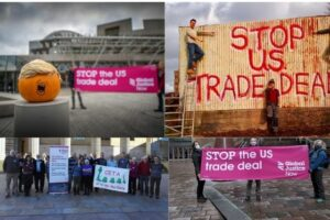protests against a US-UK trade deal across Scotland October 2020